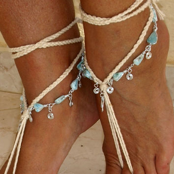 Braided beaded wire wrapped larimar silver barefoot sandals, Yoga shoes Crochet beach wedding Boho anklet Eco-friendly anklet Caribbean