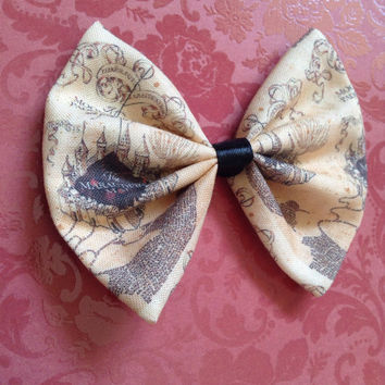Harry Potter Marauders Map Vintage Look Hair Bow Clip