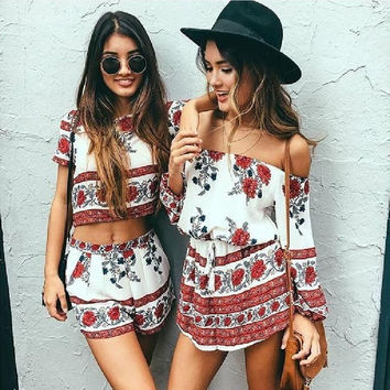 Elegant jumpsuit romper two-piece suit Boho chic flower playsuit