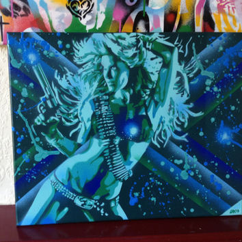 painting of women with gun on canvas,make my day,stencils & spraypaints,flames,green,blue,mint,white,graffiti,revolver,wall art,handmade