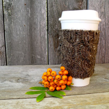 Coffee Cup Sleeve, Coffee Mug Cozy - Cable Knit Coffee Cup Cozy in Barley BrownTweed