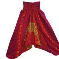 Harem Pants ,Hippy Bohemian Red Pink Printed Baggy Yoga Wear, Dance Wear, Retro Style | Mogul Interior