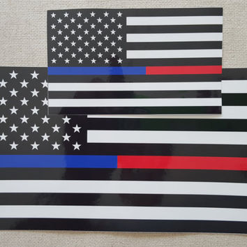 pack of (2)  5x3 & 2.5x1.5 Inches Thin Blue Red Line FireFighter Police flag Vinyl Decal Sticker nice for Your Yeti, helmet, laptop etc.