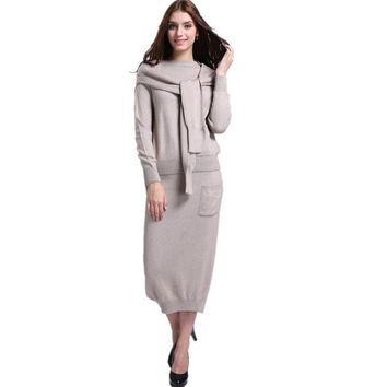Women's Autumn&Winter Blend Knitted O-Neck Sweater+Long Skirt+Fashion shawl/Set Female Casual Knitwear Pullover