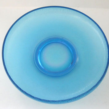Celeste Blue Stretch Glass Bowl Iridescent Vintage  -FL