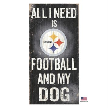 Pittsburgh Steelers Distressed Football And My Dog Sign