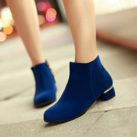Women Ankle Boots Round Toe Zipper Low Heels Shoes Woman 2016 3515
