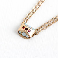 Antique 10k Rose Gold Filled Opal , Simulated Ruby Slide Charm Necklace - Victorian Long Fob Pocket Watch Chain Layered Pendant D&C Jewelry