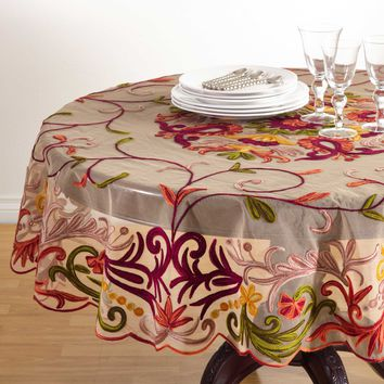 Floral Embroidered Tablecloth | 72-Inch Round
