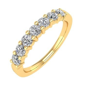 IGI CERTIFIED | 18K Gold 7 Stone Prong Set Wedding/Anniversary Diamond 1/2 Carat Band Ring (White, Yellow, Rose)