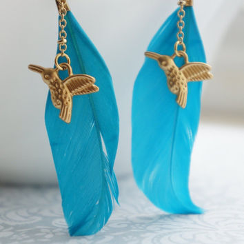 Teal Feather Earrings. Gold Hummingbird blue Feather Earrings. Summer jewelry
