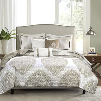 Cora Taupe Reversible 6PC Coverlet Set