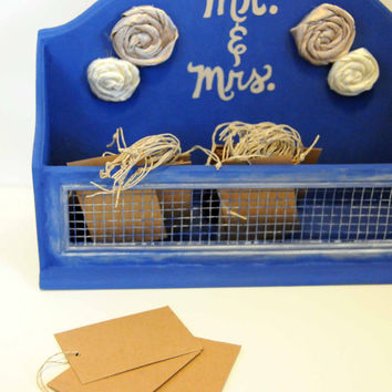 Wedding Advice Box, Mr. and Mrs., Advice for Bride and Groom, Wedding Wishes, Wooden Keepsake Box, Rosettes, Reception Decor, Blue, Gift