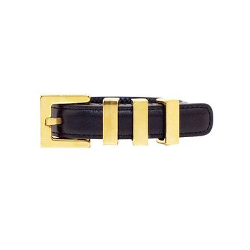 Saint Laurent Classic 3 Gold Passants Black Leather Bracelet Small 340552