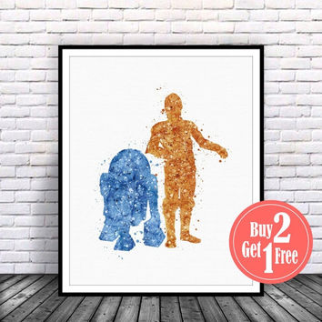 ON SALE: Star Wars Print, r2d2, c3po, r2d2 and c3po, star wars art, star wars artwork, star wars wall art, star wars decor, Star wars Illust