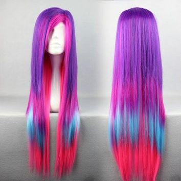 80cm Long Straight Multi Rainbow Color Anime Cosplay Lolita Carnival Wig For Women,Colorful Candy Colored synthetic Hair Extension Hair piece 1pcs WIG-286A