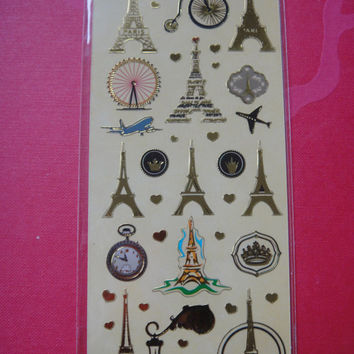 NEW Cute Golden Sticker PARIS - Effel tower sticker - Paris stickers