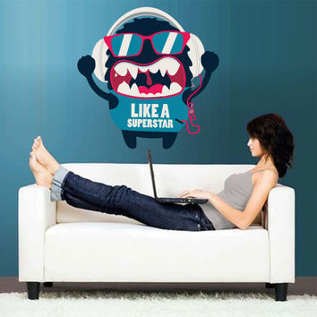 Full Color Wall Decal Mural Sticker Decor Art Poster Cartoon Monster Like Superstar Headphones Music Audio Beats (col651)