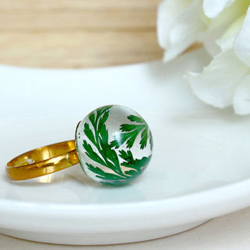 Green Fern Ring, Real Flower Jewelry, Dried Flower Ring, Resin Jewelry, Pressed Flower Ring, Simple Ring, Real Flower Leaf Ring, Cool Ring