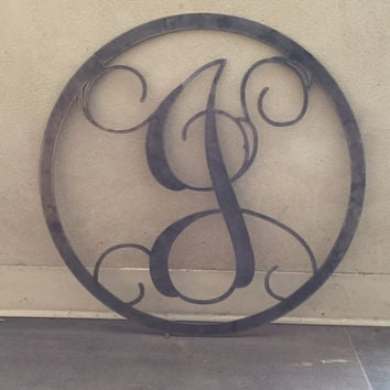 Single letter monogram initial wall hanger, door hanger, outside artwork, dormroom hanger 18""