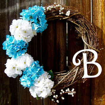 "Personalized 18"" Wreath, Hydrangea Wreath, Front Door Decor, Monogrammed Wreath, Year Round Wreath, Etsy Wreath"