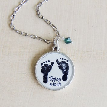 Mother's Necklace - Baby's ACTUAL Footprints - Footprint Necklace - Child's Footprints - Mother's Day Jewelry - New Mom - Mommy Necklace