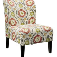 Contemporary Side Chair Living Room Furniture Multi-Color Floral Pattern Finish