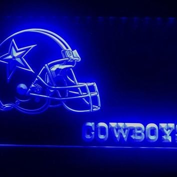 B317g- Dallas Cowboys Helmet NR Bar LED Neon Light Sign