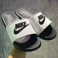 Nike Woman Men Monogram Print Fashion casual slippers White Black Soles G-PSXY