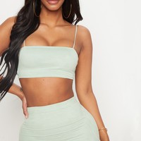 Shape Sage Green Faux Suede Strappy Straight Neck Crop Top