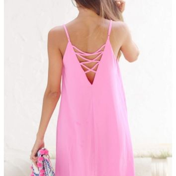 Bubblegum pink woven cami dress with back cross spaghetti straps | Becca | escloset.com