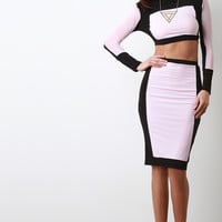 Stretch Knit Two-Tone Pencil Midi Skirt