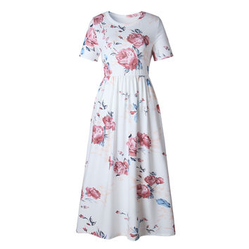 Floral Round Neck Short Sleeve Long Casual Dress