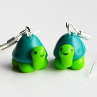Tortoise Turtle Earrings, Fimo, Polymer Clay