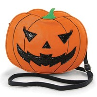 Halloween Jack O Lantern Pumpkin Cross Body Bag Purse