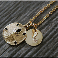 Gold Sand Dollar Charm Necklace, Initial Charm Necklace, Personalized, Sand Dollar Pendant, Ocean Jewelry, Monogram Sea Life Necklace