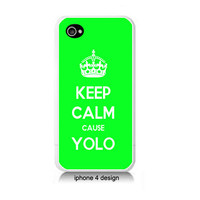 Keep Calm Cause YOLO green Iphone 4 case, Iphone cover, 4s