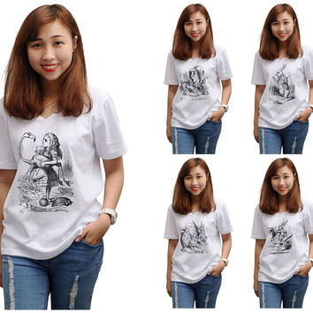 Women Alice in Wonderland Printed V-Neck Short Sleeves T-shirt WTS_16