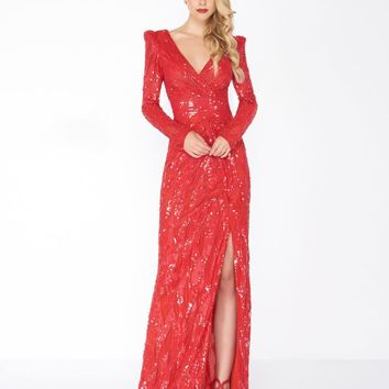 Mac Duggal - 4635R Long Dynasty Sleeve Sequined High Slit Gown