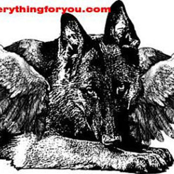 german shepard dog angel printable animal wall art clipart png download digital image dog graphics pets black and white home decor