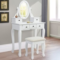 Vanity Table Jewelry Makeup Desk Bench Drawer White Solid Wood Construction New - Walmart.com