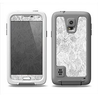 The White Textured Lace Samsung Galaxy S5 LifeProof Fre Case Skin Set