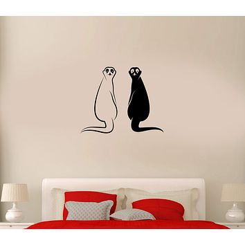 Wall Decal Animals Couple Meerkat Rodents Black And White Vinyl Sticker (ed1002)