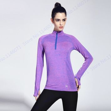 Purple Half Zip Running Biking Sports T-Shirt Dry Fit Grey Fitness Yoga Shirts Blue Stand Collar Athletic Gym Tee Women Slim Top
