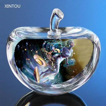 Zodiac Constellations Crystal Glass Angel Apple Figurines