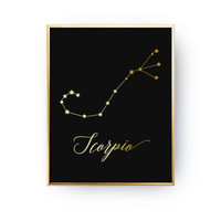 Scorpio Print, Zodiac Print, Scorpio Constellation, Real Gold Foil Print, Zodiac Sign, Scorpio Zodiac Poster, Zodiac Constellation,Astrology