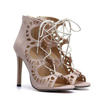 Brown Cut-Outs Lace High Heels
