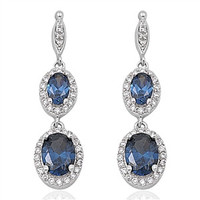 Blue Sapphire Cz .925 Sterling Silver Dangle Earrings