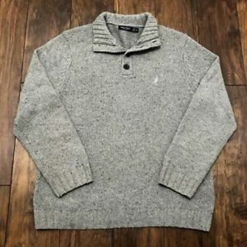 Nautica Wool Blend Thick Gray 4 Button Sweater Menswear Mens Size L Large