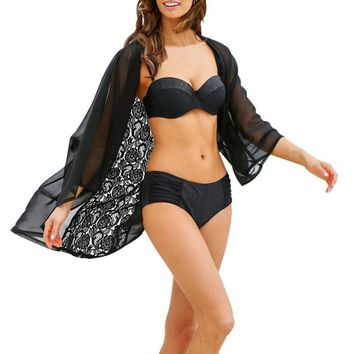 Swimsuit Cover Up 2017 Chiffon Beach Cover Up Lace Bathing Suit Cover Ups Women Beach Wear Pareos Sexy Swimwear Cover Up